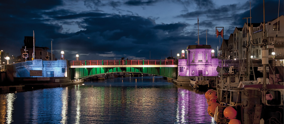 Weymouth Town Bridge at Night